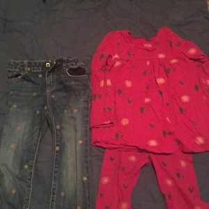 Baby gap girls outfit and jeans with gold stars